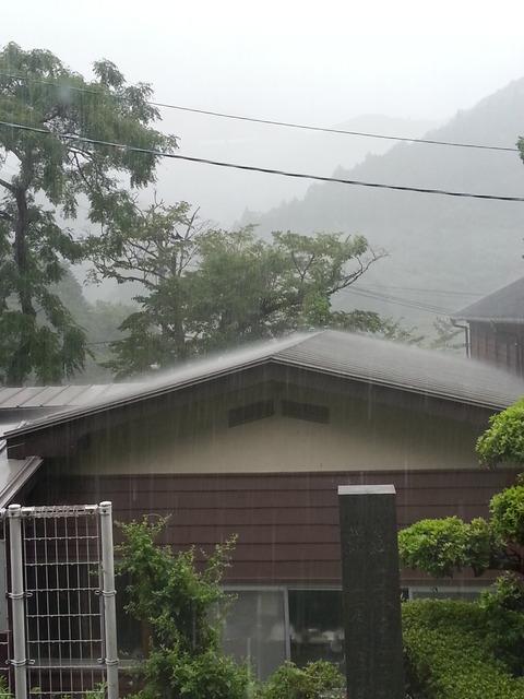 ジブリ映画の様な雨の降り方の屋根の様子(お向かいの風の窯)